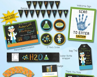 Science birthday party invitation and printable decorations.