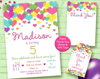 Rainbow Hearts Party Invitation Birthday Digital Printable. Glitter Confetti. FREE THANK YOU Card!