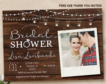Rustic Bridal Shower Invitation, Rustic Invitation, Country invitation, Bridal Shower Invitation, digital
