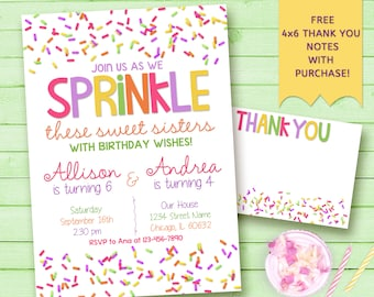 Sisters Sprinkle Party Invitation. Twins, cousins, friends sprinkle party invitation. Sweet Celebration. Printable Invitation
