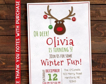 Reindeer Birthday party invitation, reindeer games birthday party invitation