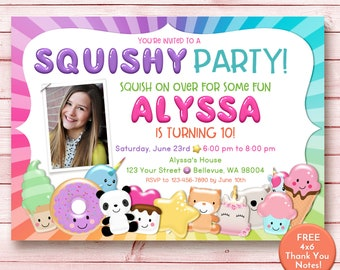 Squishy party invitation, squishies party invitation with picture, squishy party invite, Slime and Squishies
