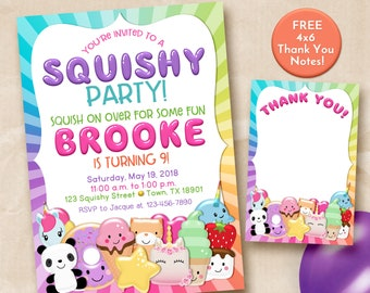 Squishy party invitation, squishies party invitation, squishy party invite, Slime and Squishies