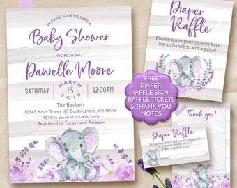 Elephant baby shower invitation, Elephant baby shower invitation girl, Elephant baby shower purple, Girl Elephant shower invitation purple