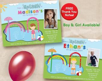 Girl Splash Pad Invitation with photo / Boy Splash Pad invitation with photo