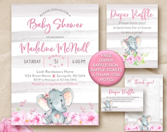 Elephant baby shower invitation, Pink and gray elephant baby shower invitation, pink and gray baby shower