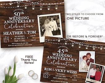 40th Wedding Anniversary invitation, Wedding Anniversary Invitation, rustic anniversary invite
