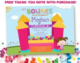 Bounce Party Invitation, Bounce House Birthday, Bounce House Birthday, Bouncy House Invite, Bounce Invitation, Girl, Printable Digital