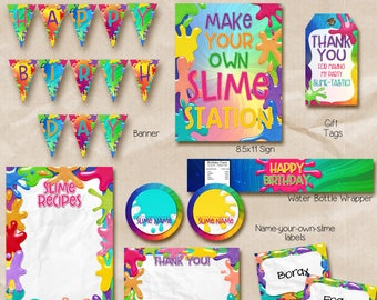 Slime Party Package / Slime Party Package Printable / slime printables / Instant Download