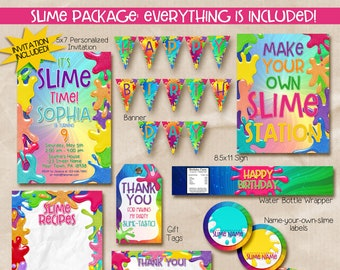 Slime Party Package / Slime Party Package Printable / slime printables