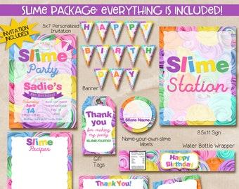Slime party invitation, Slime invitation, Swirl Slime Invitation, Slime birthday invitation, printable invitation