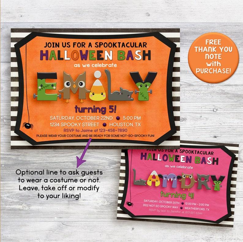HALLOWEEN Birthday Party Invitation Kids Halloween