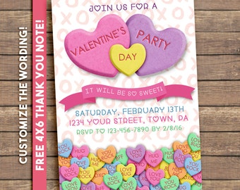 Valentines Party Invitation. Conversation Hearts. Digital Printable.