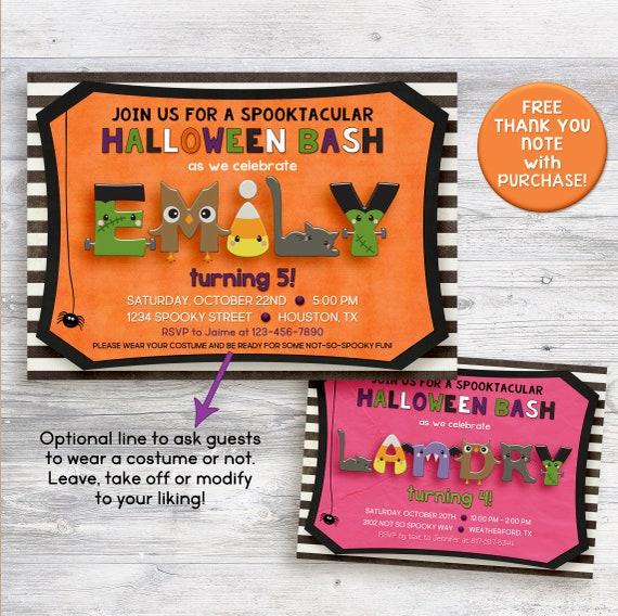 Halloween Birthday Invitation Pumpkin