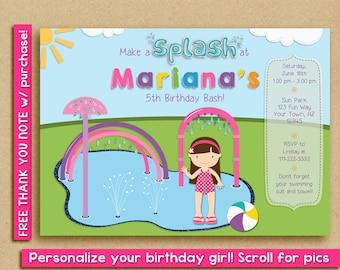 Girl Splash Pad Invitation / Water Park Birthday Party / Spray Park Invitation