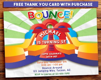 Bounce House Invitation. Inflatable party invitation. Moon Bounce