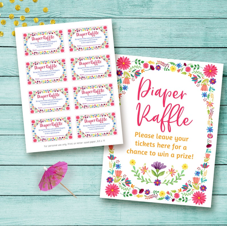 graphic about Printable Diaper Raffle Tickets referred to as Fiesta Diaper Raffle Ticket, Printable Diaper Raffle Card, Fiesta Youngster Shower diaper raffle