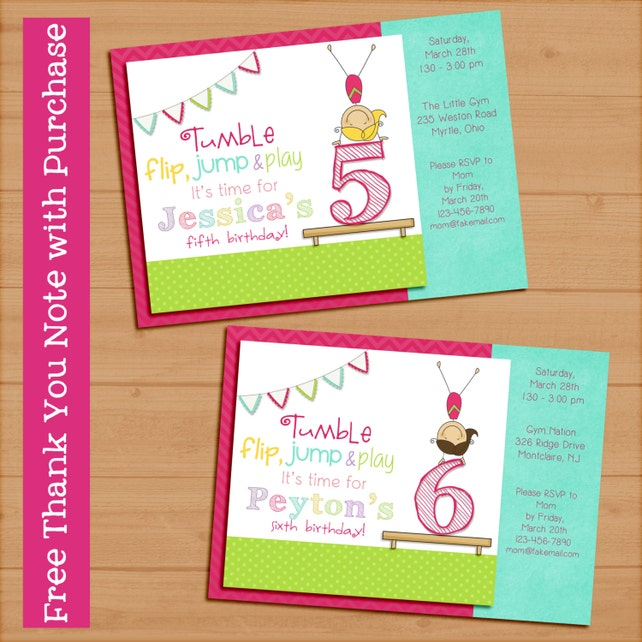 Gymnastics Birthday Party Invitation Printable Digital Girl 5x7 FREE THANK YOU Card