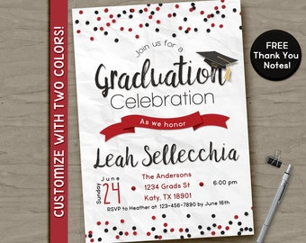 Confetti graduation party invitation, printable