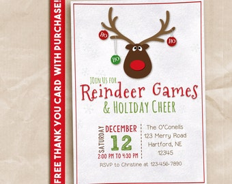 Reindeer Games Party invitation. Printable invitation