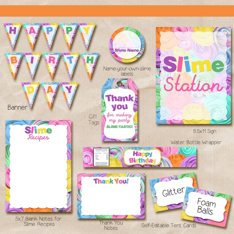 photograph regarding Printable Slime Recipe named Slime Social gathering Bundle / Slime Get together Offer Printable / slime printables / Fast Obtain