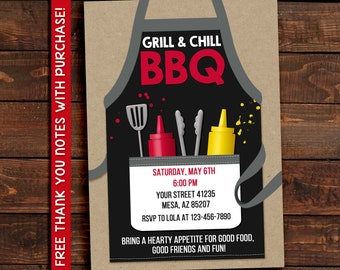 Grill and Chill Invitation, Grill and Chill Barbecue, Grill and Chill BBQ