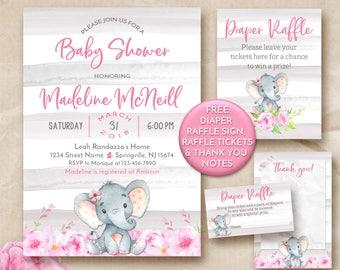 Elephant baby shower invitation, Girl baby shower invitation printable, Girl Elephant Invitation, Jungle Baby Shower Invitation floral