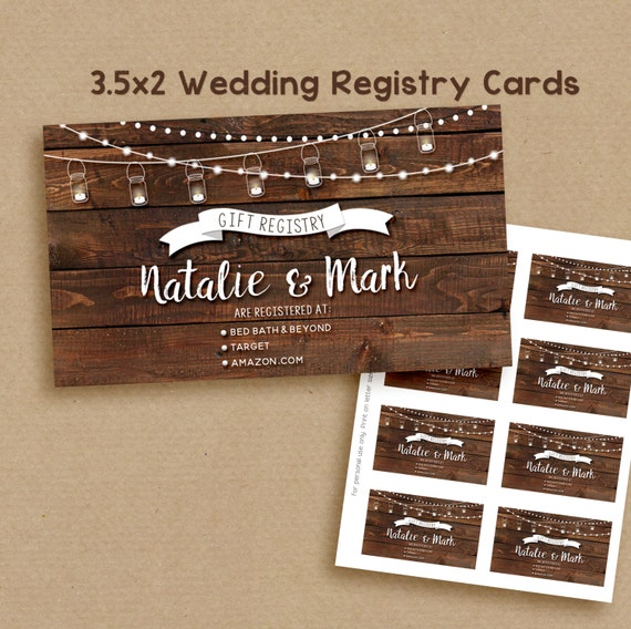Etsy Wedding Registry   Wedding Registry Card Printable Rustic Wedding Registry Card Etsy