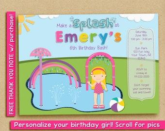 Splash Pad party invitation, splash pad birthday party invitation