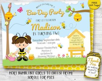 Bee birthday invitation, Bumble Bee Birthday Party Invitation, printable invitation