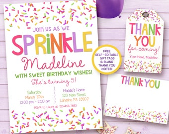 Sprinkle birthday invitation / sprinkle printable invitation