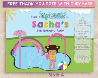 Girl Splash Pad Invitation, Water Park Birthday Party, Splish Splash