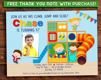 Indoor Playground Party Invitation with Picture. Jungle Gym. Digital Printable