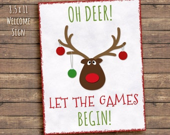 Welcome Sign Reindeer Games Party, Printable, Birthday,  8.5 x 11, instant download