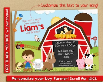 Farm Birthday Invitation | Farm Birthday Party | Farm Party | Birthday Invitation for Boys | Barn Invitation