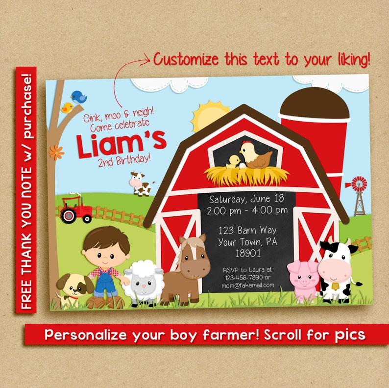 Farm Birthday Invitation Party