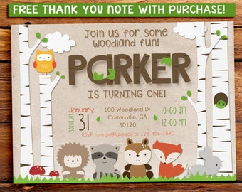 WOODLAND PARTY INVITATION, printable invitation