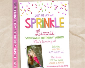 Sprinkle birthday invitation / sprinkle printable invitation / sprinkle invitation with picture