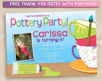 Printable Pottery Party Invitation. Painting party invitation.