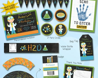 Science party decorations and invitation package
