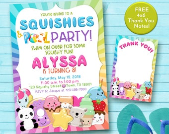 Squishy party invitation, pool party invitation, squishes and pool party party