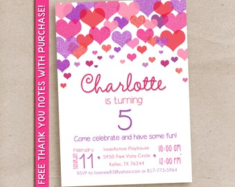 Heart shower invitation, pink and purple hearts invitation, birthday party, heart confetti, valentines