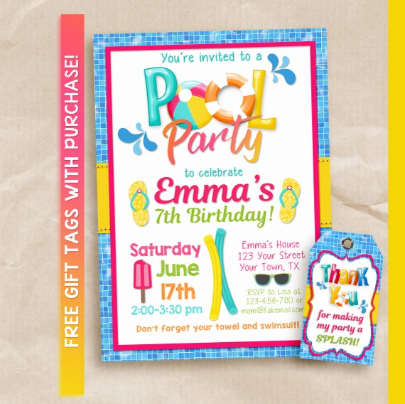 Girls Pool Party Birthday Invitation Printable