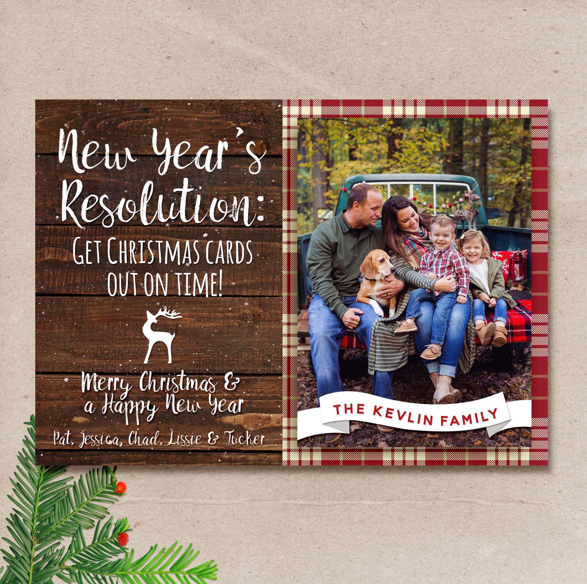 Rustic Christmas Card Late Christmas Card Holiday Christmas Etsy