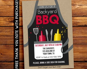 Backyard BBQ Invitation - Backyard Party Invitation -