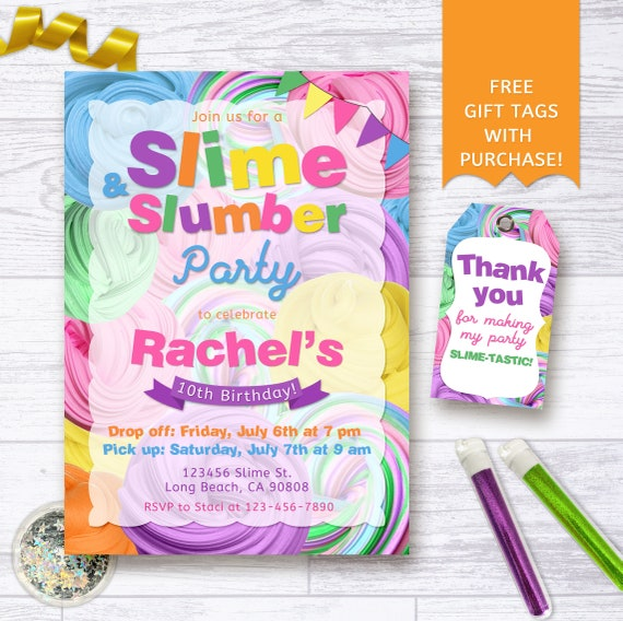 Slime And Slumber Party Invitation Slime Birthday Party Etsy