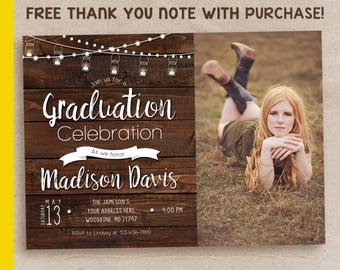 Graduation party invitation, graduation party invitation with picture, rustic graduation