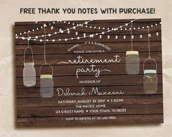 Surprise Retirement party invitation, Surprise retirement Invitation, Rustic Retirement Party Invitation, wood, mason jars