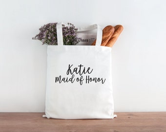 Maid of Honor Tote, Maid of Honor, Maid of Honor gift, personalized wedding tote, wedding favor, wedding gift, MOH gift