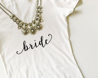 Bride Gift. Bridal Shower Gift. Bride Shirt. Bride T-shirt. Bride V-neck Shirt. V-neck Tshirt. White t-shirt. Bride to be Gift. Bride tshirt
